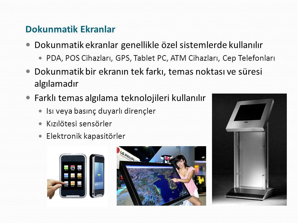 Dokunmatik Ekranlar Dokunmatik ekranlar genellikle özel sistemlerde kullanılır PDA, POS Cihazları, GPS, Tablet PC, ATM Cihazları, Cep Telefonları Doku