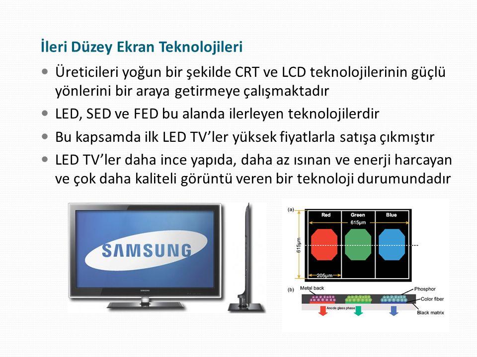İleri Düzey Ekran Teknolojileri Üreticileri yoğun bir şekilde CRT ve LCD teknolojilerinin güçlü yönlerini bir araya getirmeye çalışmaktadır LED, SED v