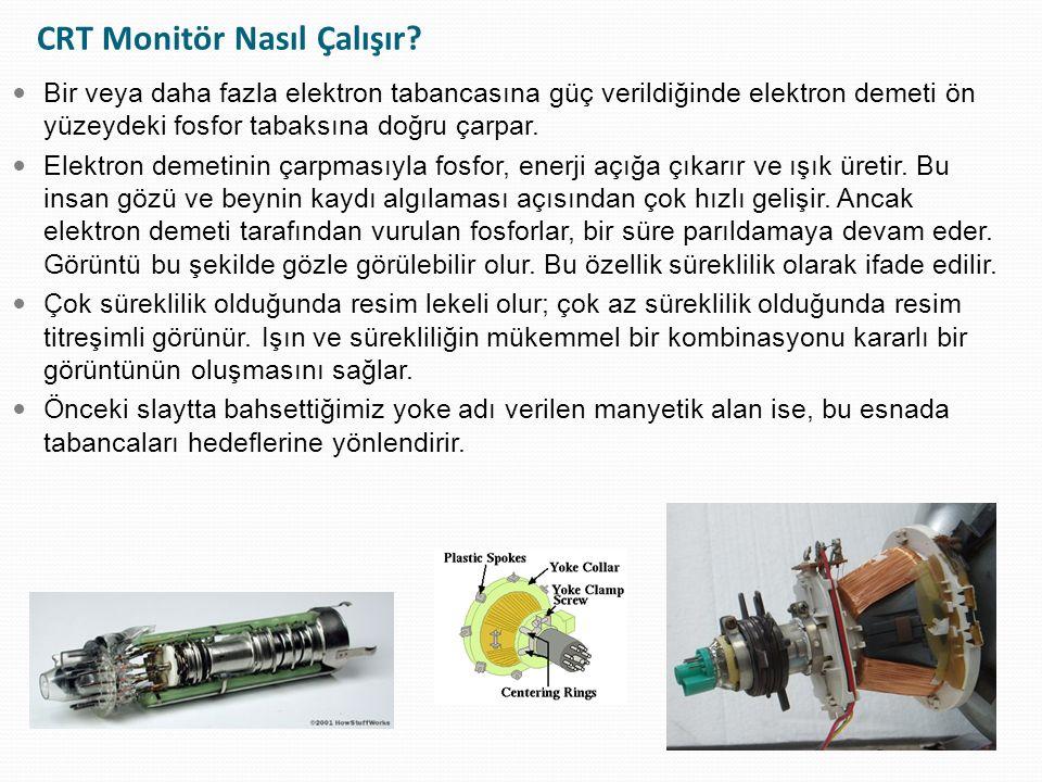 CRT Monitör Nasıl Çalışır? Bir veya daha fazla elektron tabancasına güç verildiğinde elektron demeti ön yüzeydeki fosfor tabaksına doğru çarpar. Elekt