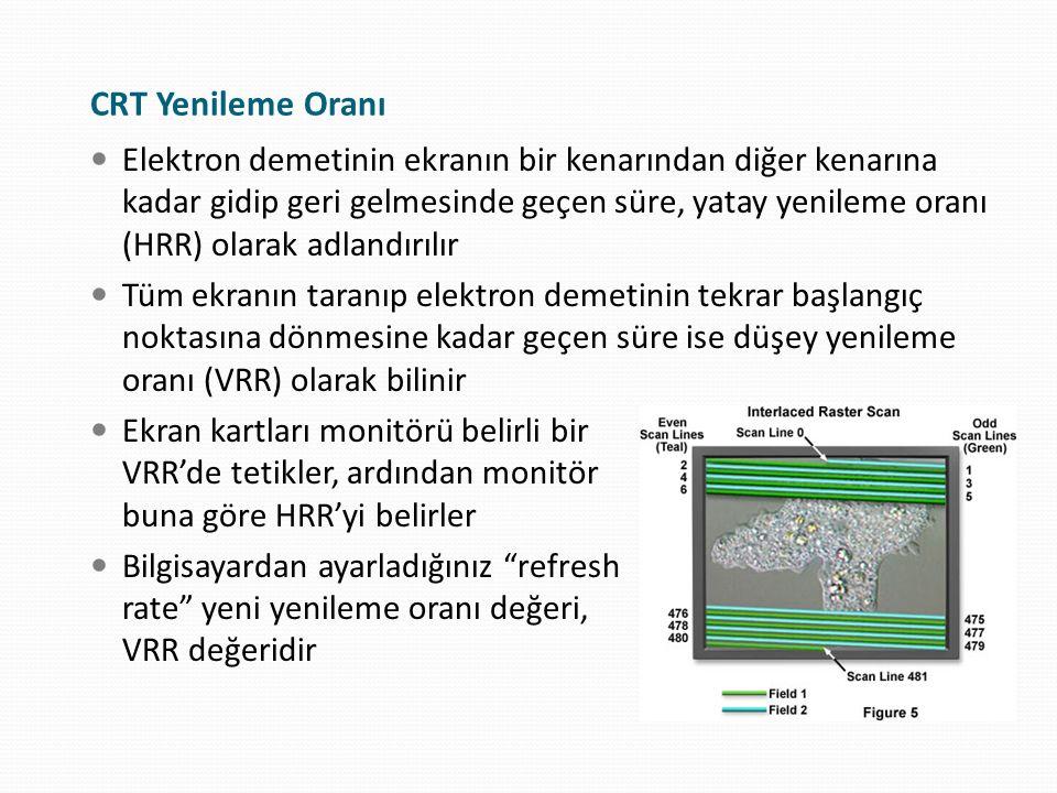 Yenileme oranı, hem monitörün, hem de göz sağlığınızın bozulmasına sebep olabilecek kritik bir ayardır Eğer VRR çok düşük ayarlanmışsa, ekranda titreme görünür Eğer çok yüksek ayarlanmışsa, bozulmuş bir görüntü sergilenir ve monitör arıza yapabilir Bir çok CRT monitör birden fazla yenileme frekansını destekler Multisync 1280 x 1024 - 85 Hz 800 x 600 - 60 Hz CRT bir monitörde göz sağlığı için en ideal yenileme hızı 85 Hz veya üzeridir İdeal Yenileme Oranı