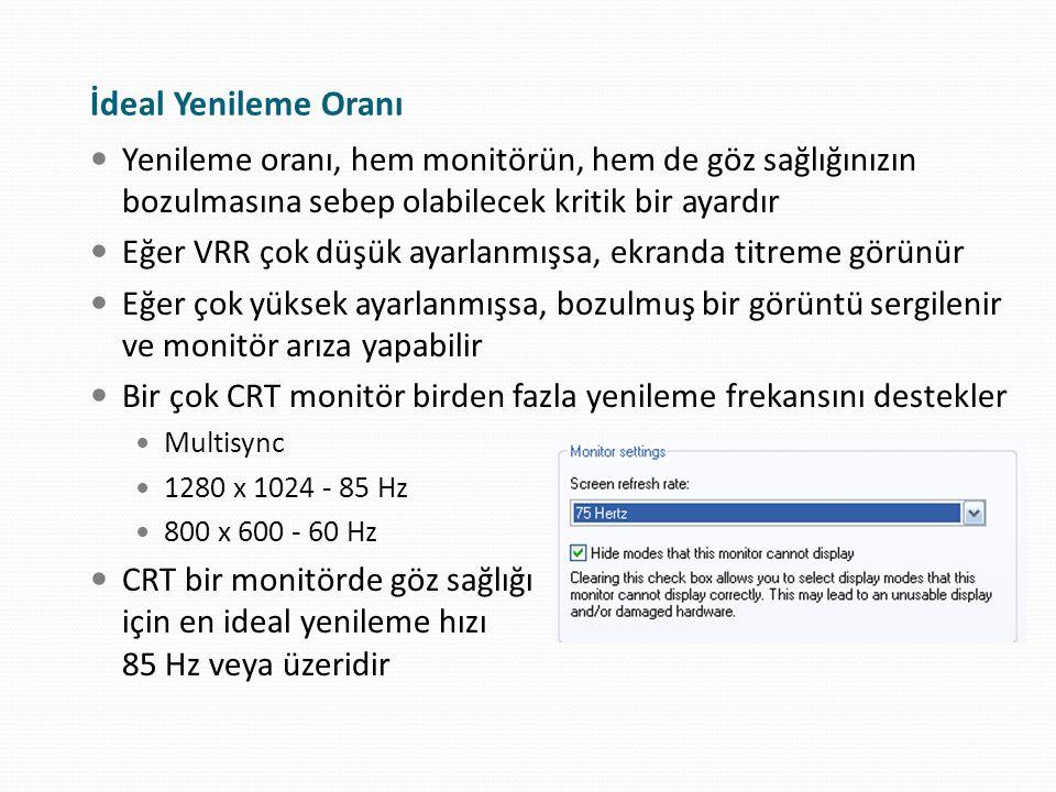 Yenileme oranı, hem monitörün, hem de göz sağlığınızın bozulmasına sebep olabilecek kritik bir ayardır Eğer VRR çok düşük ayarlanmışsa, ekranda titrem