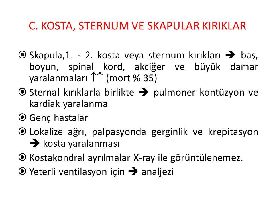 C. KOSTA, STERNUM VE SKAPULAR KIRIKLAR  Skapula,1. - 2. kosta veya sternum kırıkları  baş, boyun, spinal kord, akciğer ve büyük damar yaralanmaları