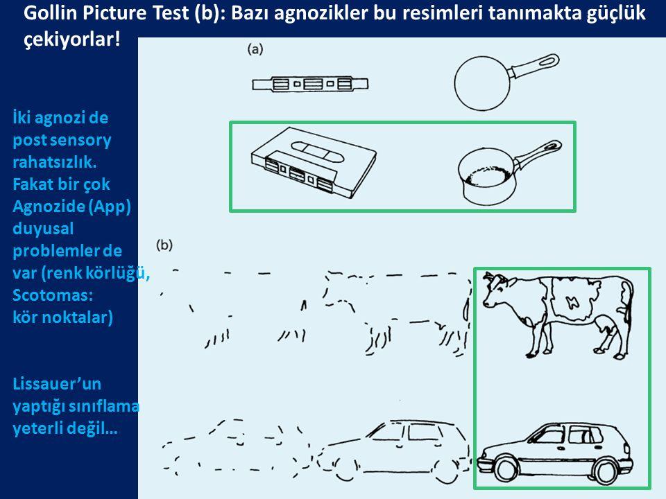 Gollin Picture Test (b): Bazı agnozikler bu resimleri tanımakta güçlük çekiyorlar! İki agnozi de post sensory rahatsızlık. Fakat bir çok Agnozide (App