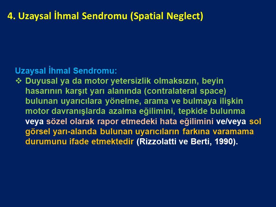 Uzaysal İhmal Sendromu:  Duyusal ya da motor yetersizlik olmaksızın, beyin hasarının karşıt yarı alanında (contralateral space) bulunan uyarıcılara y
