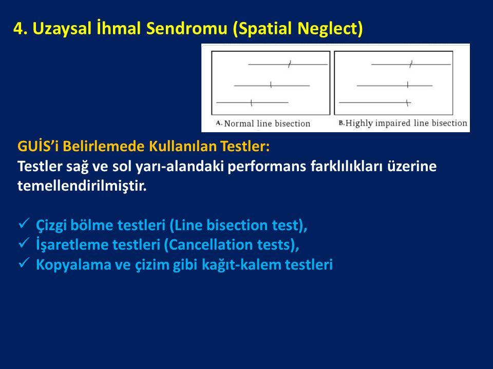 GUİS'i Belirlemede Kullanılan Testler: Testler sağ ve sol yarı-alandaki performans farklılıkları üzerine temellendirilmiştir. Çizgi bölme testleri (Li
