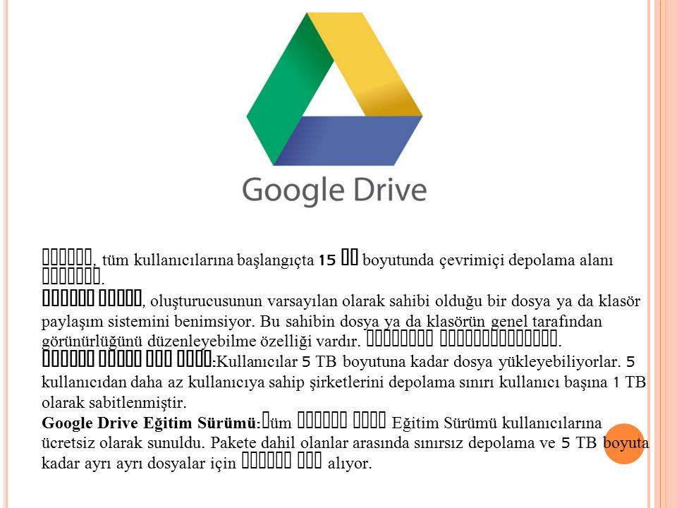 Google, tüm kullanıcılarına başlangıçta 15 GB boyutunda çevrimiçi depolama alanı sunuyor. Google Drive, oluşturucusunun varsayılan olarak sahibi olduğ