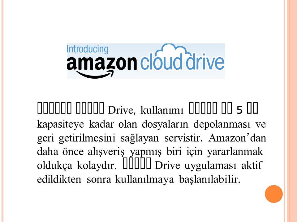 Amazon Cloud Drive, kullanımı kolay ve 5 GB kapasiteye kadar olan dosyaların depolanması ve geri getirilmesini sağlayan servistir. Amazon ' dan daha ö
