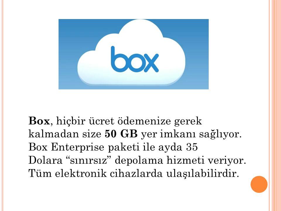 """Box, hiçbir ücret ödemenize gerek kalmadan size 50 GB yer imkanı sağlıyor. Box Enterprise paketi ile ayda 35 Dolara """"sınırsız"""" depolama hizmeti veriyo"""