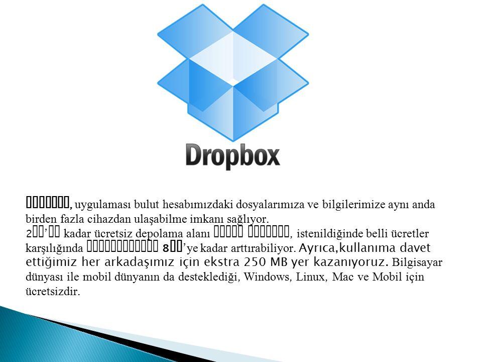 Dropbox, uygulaması bulut hesabımızdaki dosyalarımıza ve bilgilerimize aynı anda birden fazla cihazdan ulaşabilme imkanı sağlıyor. 2 GB ' ye kadar ücr