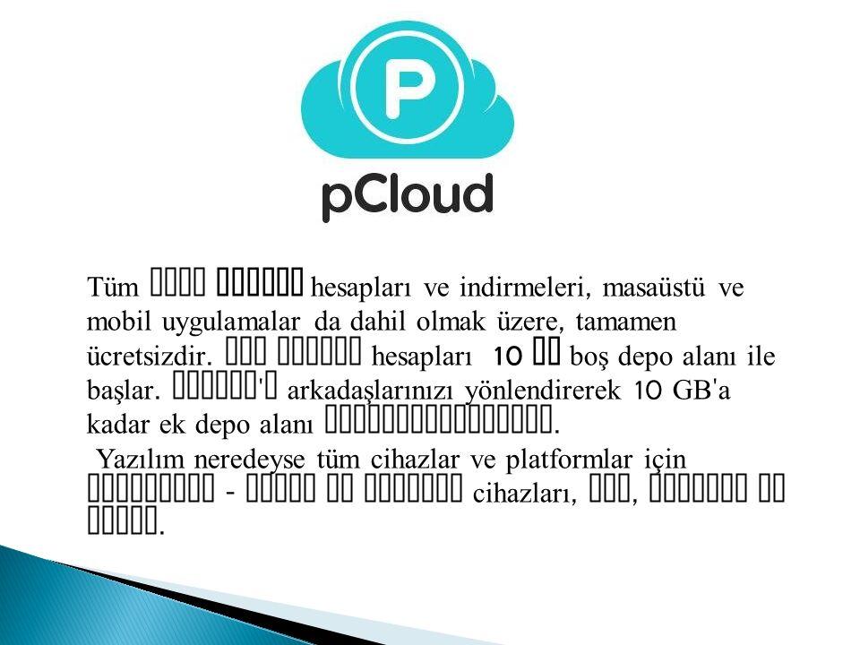 Tüm yeni pCloud hesapları ve indirmeleri, masaüstü ve mobil uygulamalar da dahil olmak üzere, tamamen ücretsizdir. Ana pCloud hesapları 10 GB boş depo