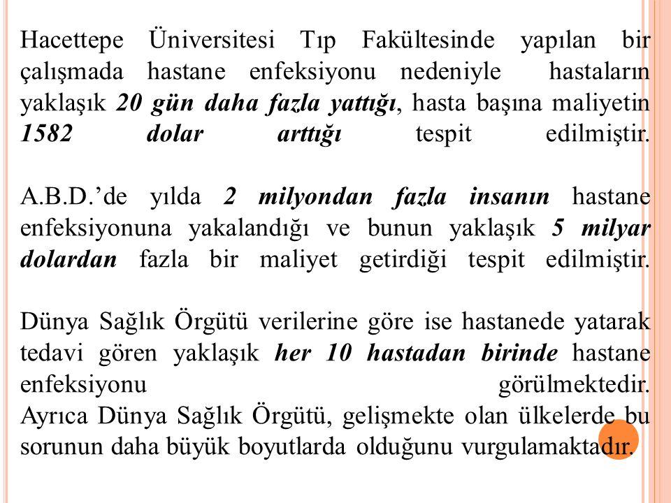 Hacettepe Üniversitesi Tıp Fakültesinde yapılan bir çalışmada hastane enfeksiyonu nedeniyle hastaların yaklaşık 20 gün daha fazla yattığı, hasta başın
