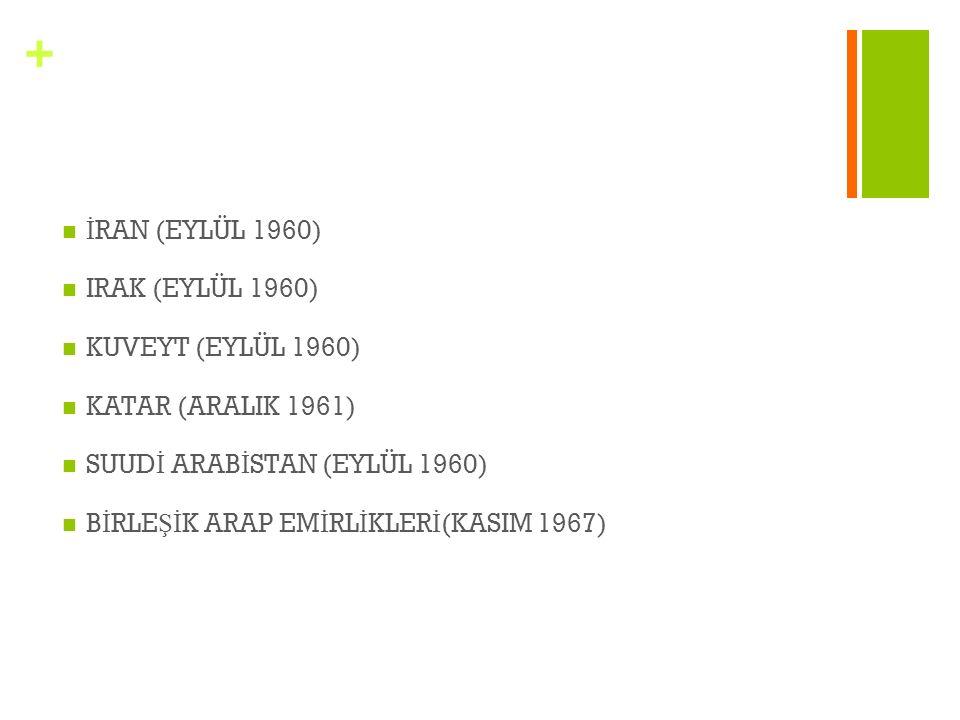 + İ RAN (EYLÜL 1960) IRAK (EYLÜL 1960) KUVEYT (EYLÜL 1960) KATAR (ARALIK 1961) SUUD İ ARAB İ STAN (EYLÜL 1960) B İ RLE Şİ K ARAP EM İ RL İ KLER İ (KAS