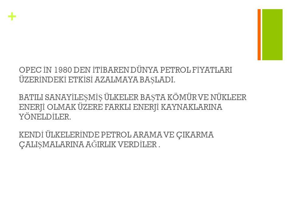 + OPEC İ N 1980 DEN İ T İ BAREN DÜNYA PETROL F İ YATLARI ÜZER İ NDEK İ ETK İ S İ AZALMAYA BA Ş LADI. BATILI SANAY İ LE Ş M İŞ ÜLKELER BA Ş TA KÖMÜR VE