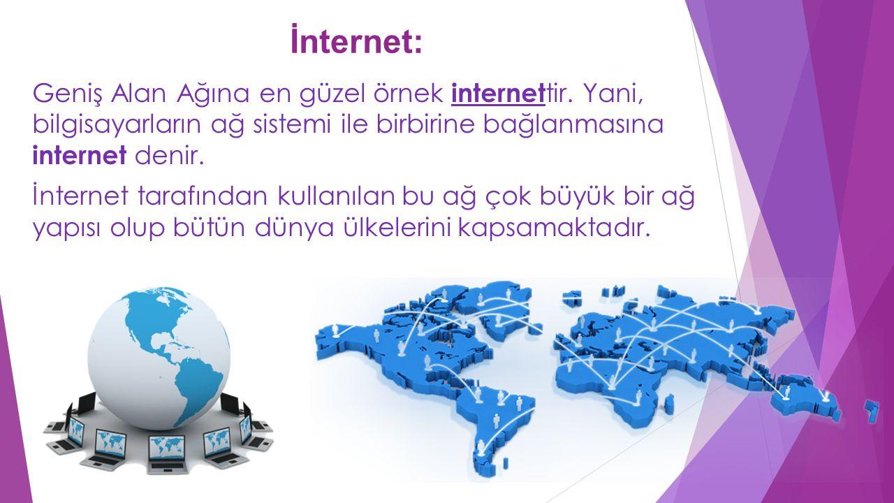 İnternet: Geniş Alan Ağına en güzel örnek internet tir. Yani, bilgisayarların ağ sistemi ile birbirine bağlanmasına internet denir. İnternet tarafında