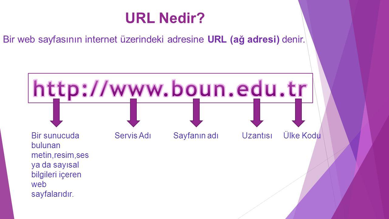 URL Nedir? Bir web sayfasının internet üzerindeki adresine URL (ağ adresi) denir. Bir sunucuda bulunan metin,resim,ses ya da sayısal bilgileri içeren