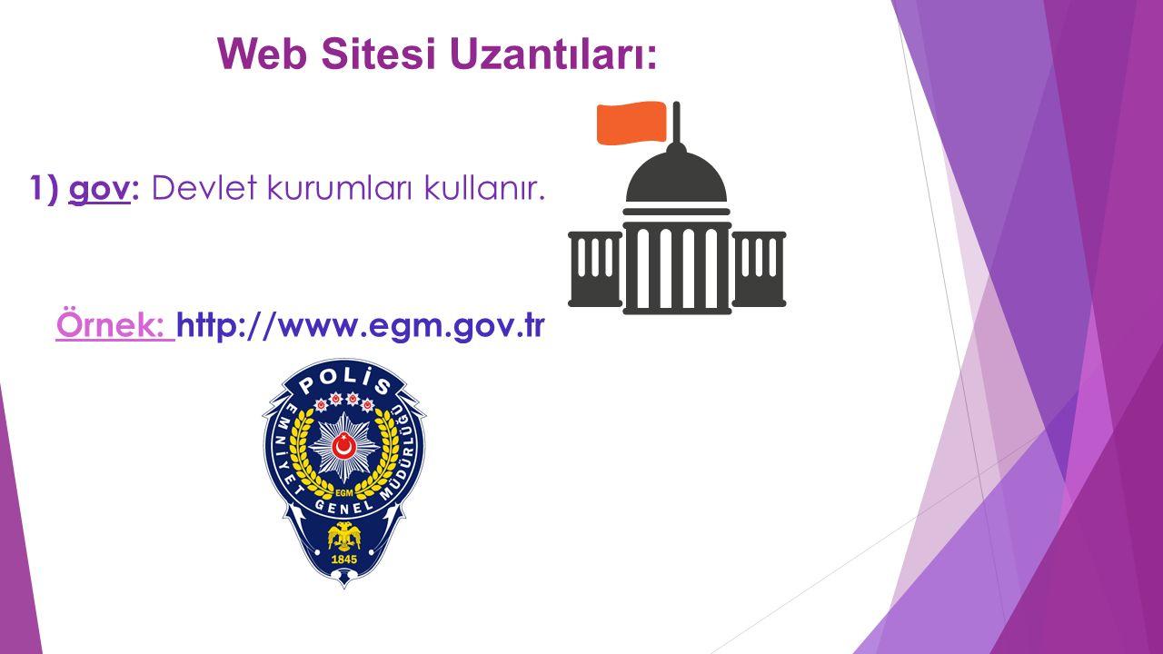 Web Sitesi Uzantıları: 1) gov: Devlet kurumları kullanır. Örnek: http://www.egm.gov.tr