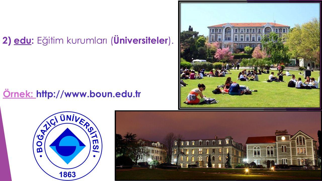 2) edu: Eğitim kurumları ( Üniversiteler ). Örnek: http://www.boun.edu.tr