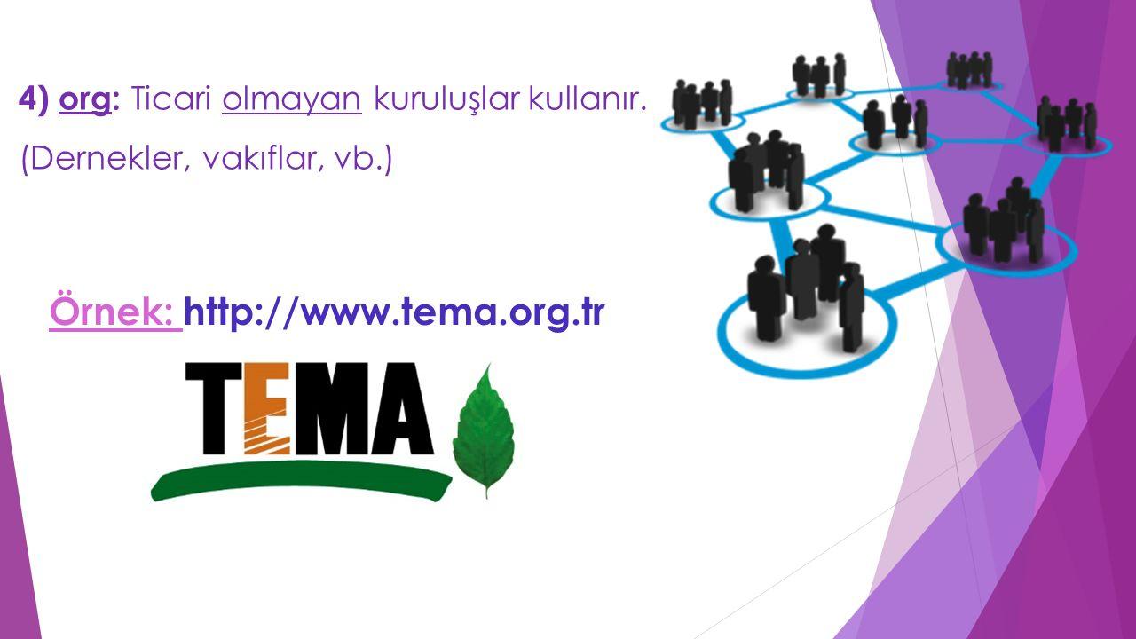 4) org: Ticari olmayan kuruluşlar kullanır. (Dernekler, vakıflar, vb.) Örnek: http://www.tema.org.tr