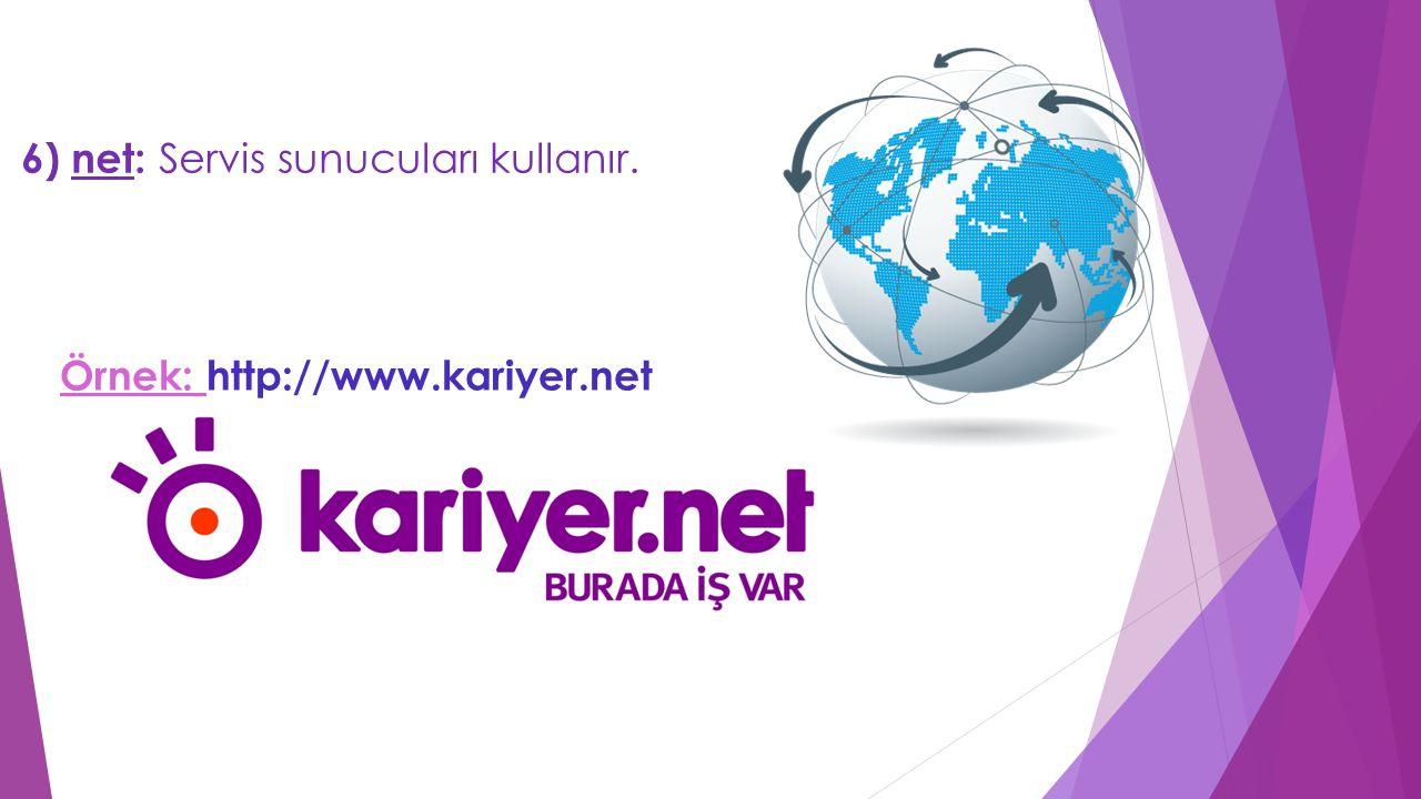 6) net: Servis sunucuları kullanır. Örnek: http://www.kariyer.net