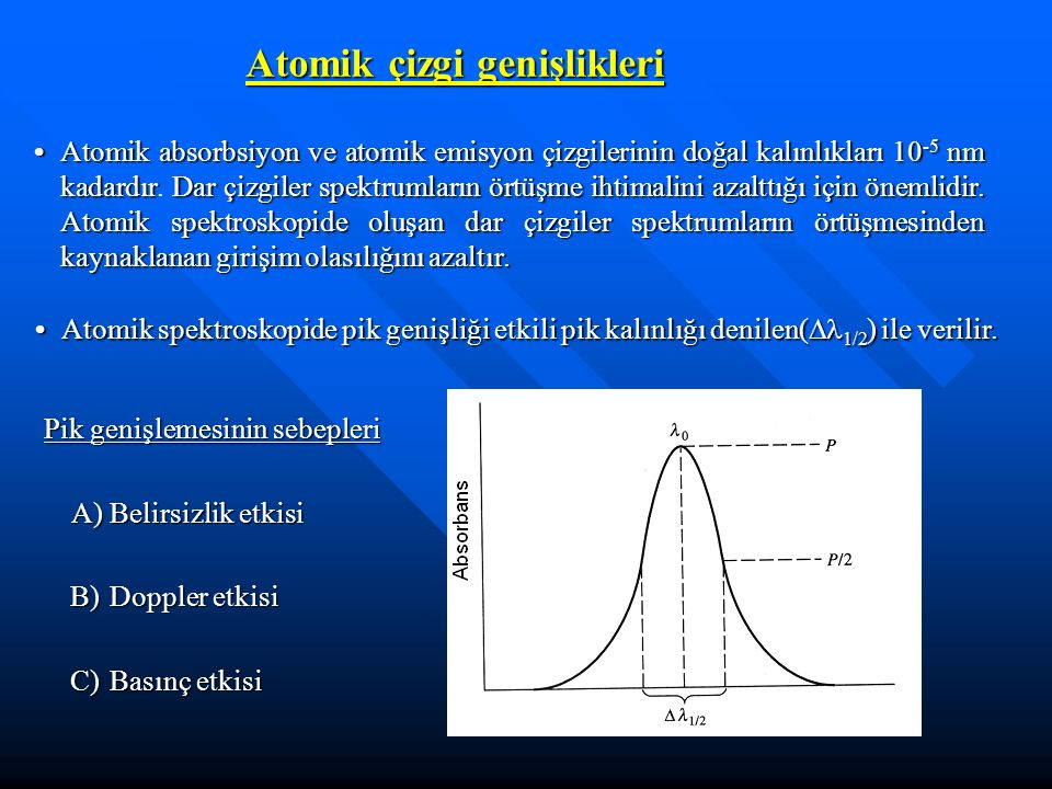Atomik çizgi genişlikleri Atomik absorbsiyon ve atomik emisyon çizgilerinin doğal kalınlıkları 10 -5 nm kadardır Dar çizgiler spektrumların örtüşme ihtimalini azalttığı için önemlidir.