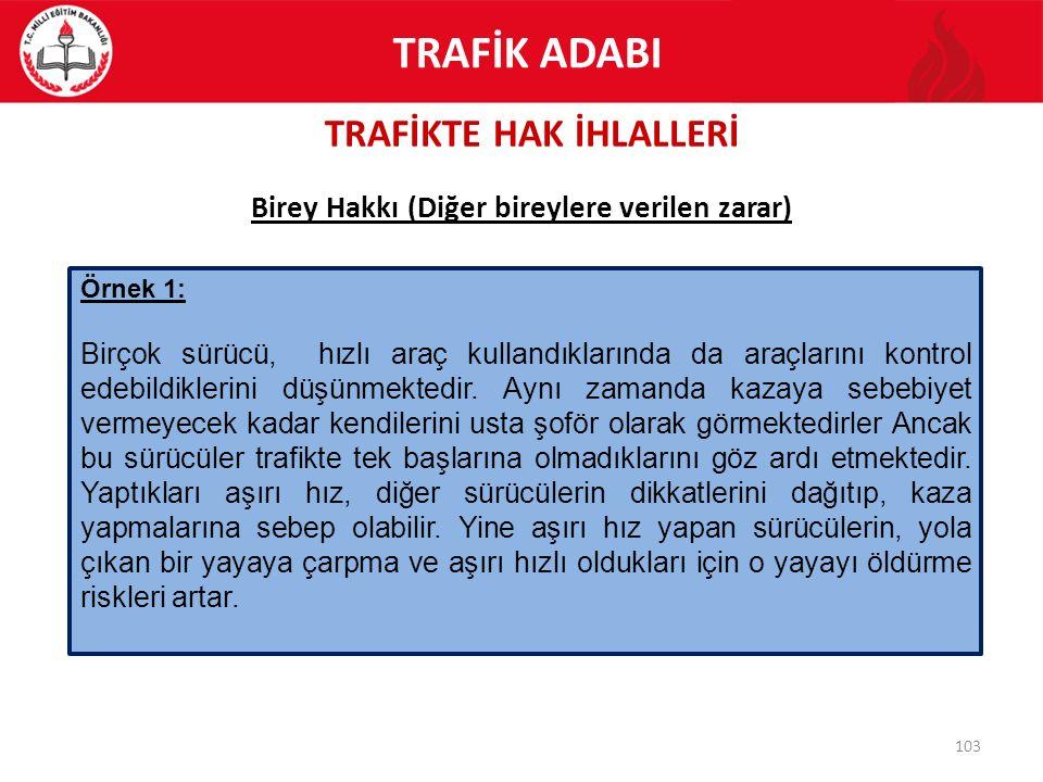 TRAFİKTE HAK İHLALLERİ 103 Birey Hakkı (Diğer bireylere verilen zarar) Örnek 1: Birçok sürücü, hızlı araç kullandıklarında da araçlarını kontrol edebi