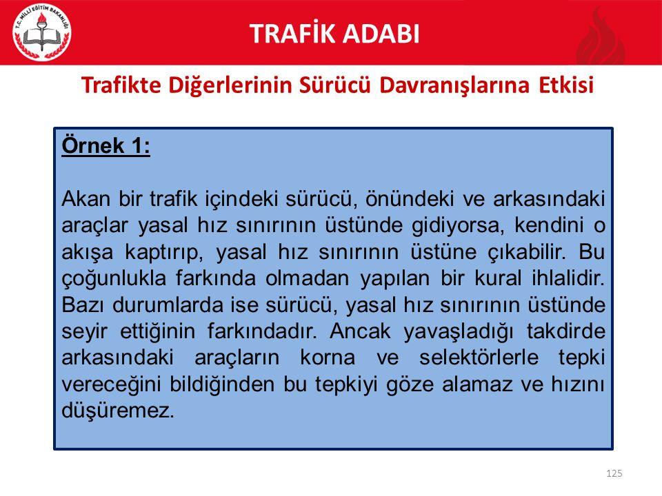 Trafikte Diğerlerinin Sürücü Davranışlarına Etkisi 125 Örnek 1: Akan bir trafik içindeki sürücü, önündeki ve arkasındaki araçlar yasal hız sınırının ü