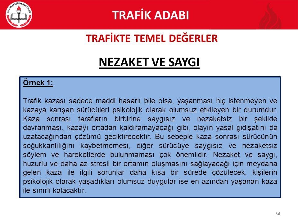 TRAFİKTE TEMEL DEĞERLER 34 NEZAKET VE SAYGI TRAFİK ADABI Örnek 1: Trafik kazası sadece maddi hasarlı bile olsa, yaşanması hiç istenmeyen ve kazaya kar