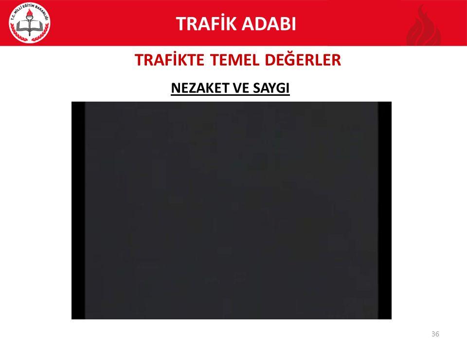 TRAFİKTE TEMEL DEĞERLER 36 NEZAKET VE SAYGI TRAFİK ADABI