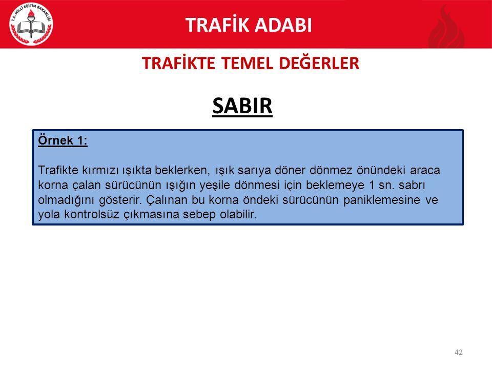 TRAFİKTE TEMEL DEĞERLER 42 SABIR TRAFİK ADABI Örnek 1: Trafikte kırmızı ışıkta beklerken, ışık sarıya döner dönmez önündeki araca korna çalan sürücünü