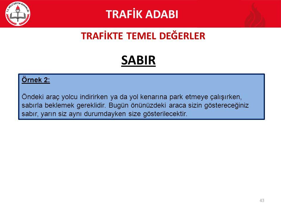 TRAFİKTE TEMEL DEĞERLER 43 SABIR TRAFİK ADABI Örnek 2: Öndeki araç yolcu indirirken ya da yol kenarına park etmeye çalışırken, sabırla beklemek gerekl