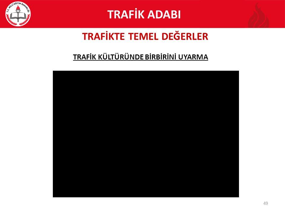 TRAFİKTE TEMEL DEĞERLER 49 TRAFİK KÜLTÜRÜNDE BİRBİRİNİ UYARMA TRAFİK ADABI