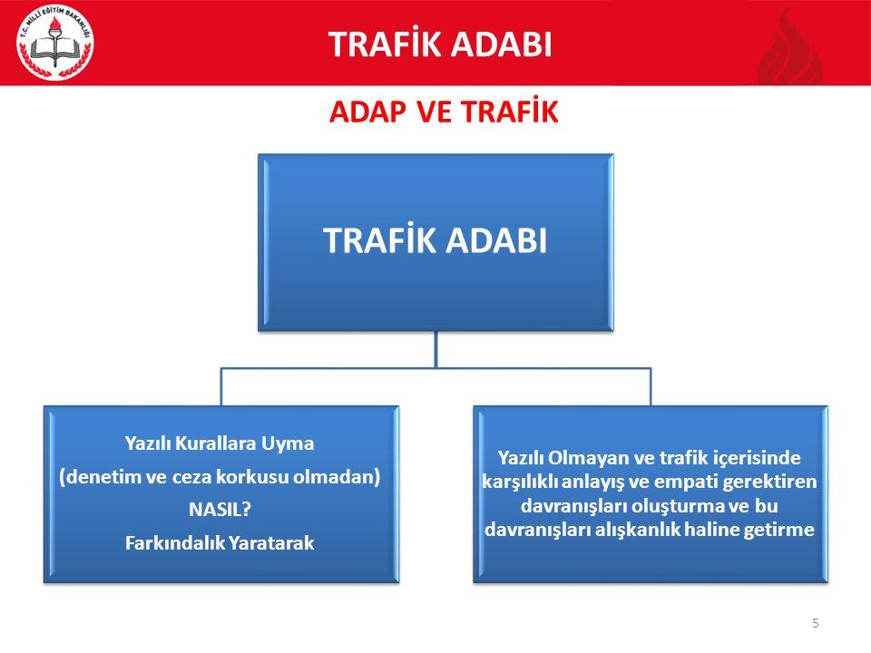 ADAP VE TRAFİK 5 TRAFİK ADABI Yazılı Kurallara Uyma (denetim ve ceza korkusu olmadan) NASIL? Farkındalık Yaratarak Yazılı Olmayan ve trafik içerisinde
