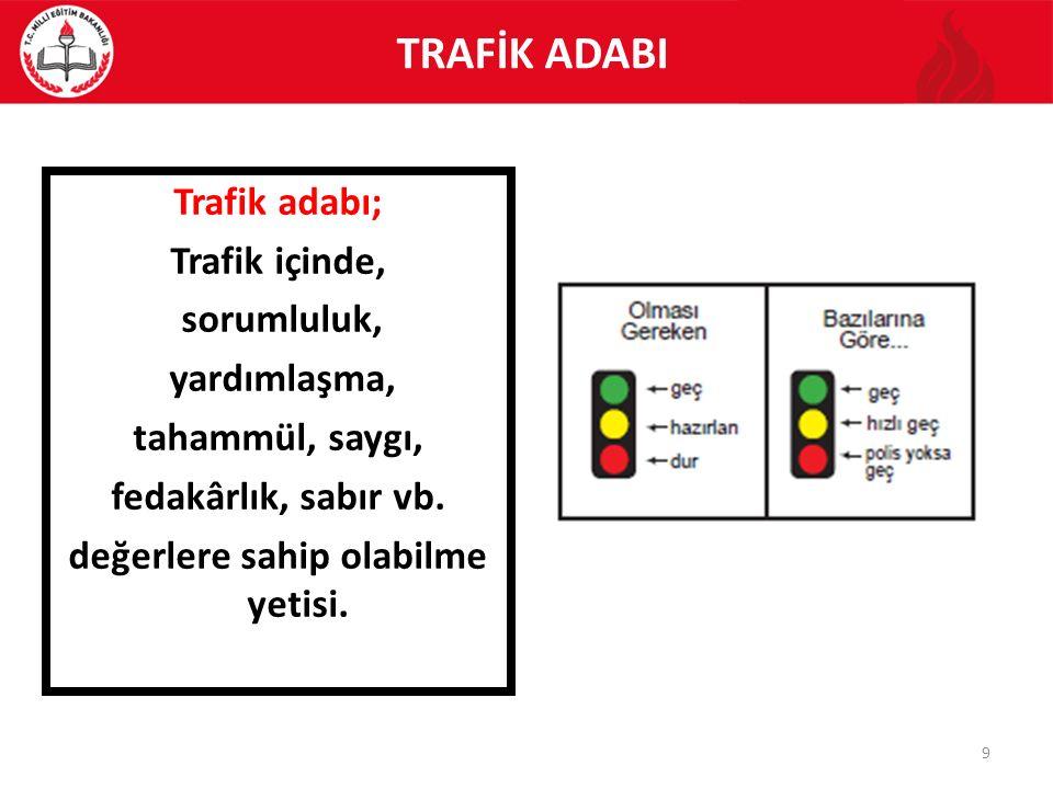 Trafik adabı; Trafik içinde, sorumluluk, yardımlaşma, tahammül, saygı, fedakârlık, sabır vb. değerlere sahip olabilme yetisi. 9 TRAFİK ADABI