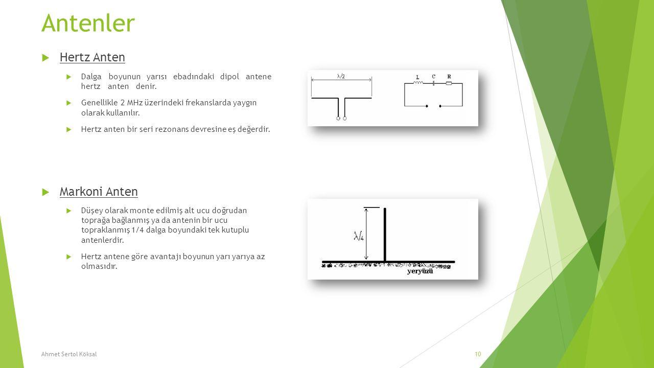 Antenler  Hertz Anten  Dalga boyunun yarısı ebadındaki dipol antene hertz anten denir.  Genellikle 2 MHz üzerindeki frekanslarda yaygın olarak kull