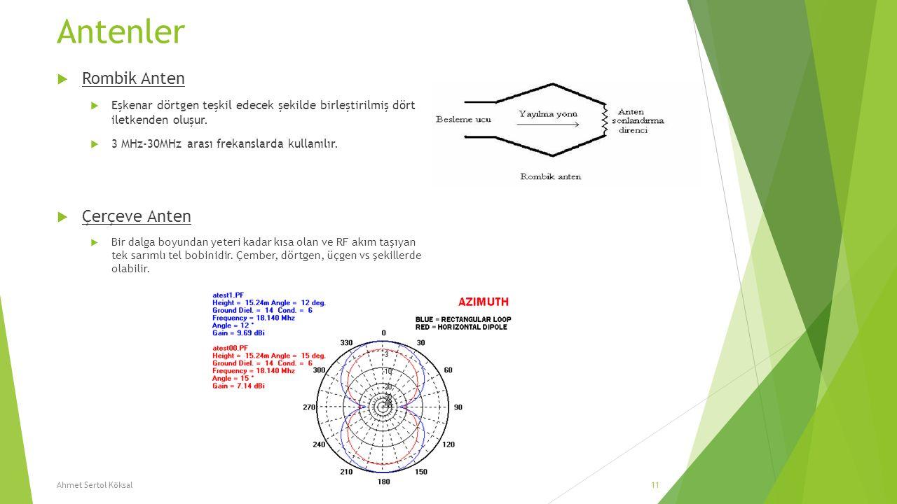 Antenler  Rombik Anten  Eşkenar dörtgen teşkil edecek şekilde birleştirilmiş dört iletkenden oluşur.  3 MHz-30MHz arası frekanslarda kullanılır. 