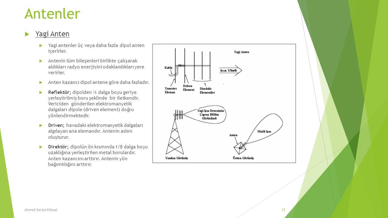 Antenler  Yagi Anten  Yagi antenler üç veya daha fazla dipol anten içerirler.  Antenin tüm bileşenleri birlikte çalışarak aldıkları radyo enerjisin