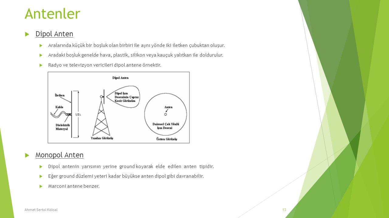 Antenler  Dipol Anten  Aralarında küçük bir boşluk olan birbiri ile aynı yönde iki iletken çubuktan oluşur.  Aradaki boşluk genelde hava, plastik,