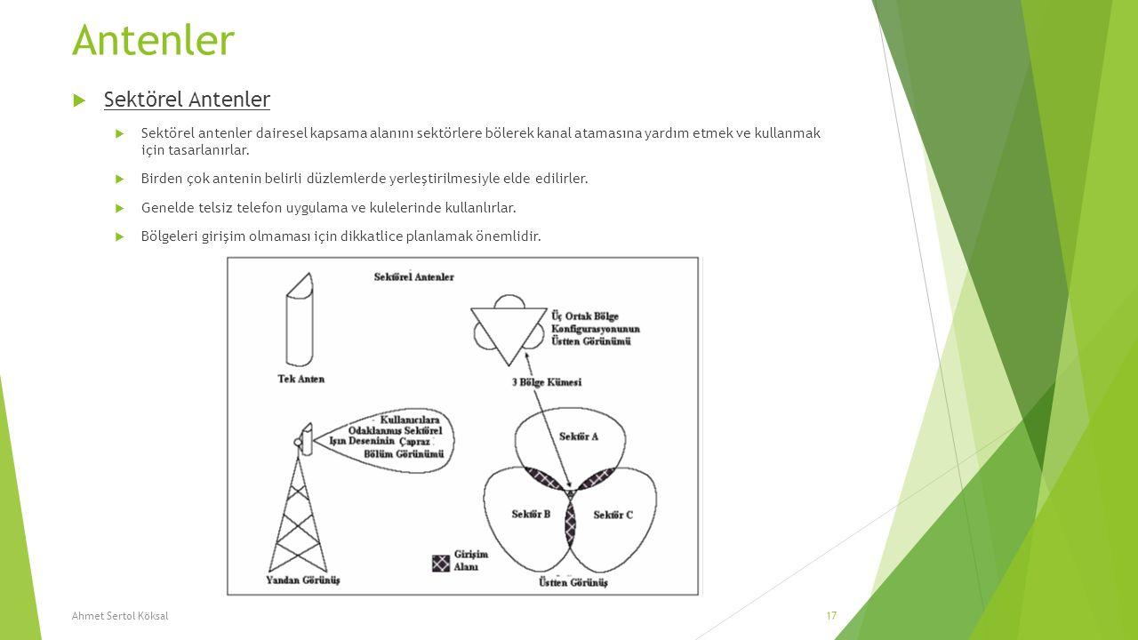 Antenler  Sektörel Antenler  Sektörel antenler dairesel kapsama alanını sektörlere bölerek kanal atamasına yardım etmek ve kullanmak için tasarlanır