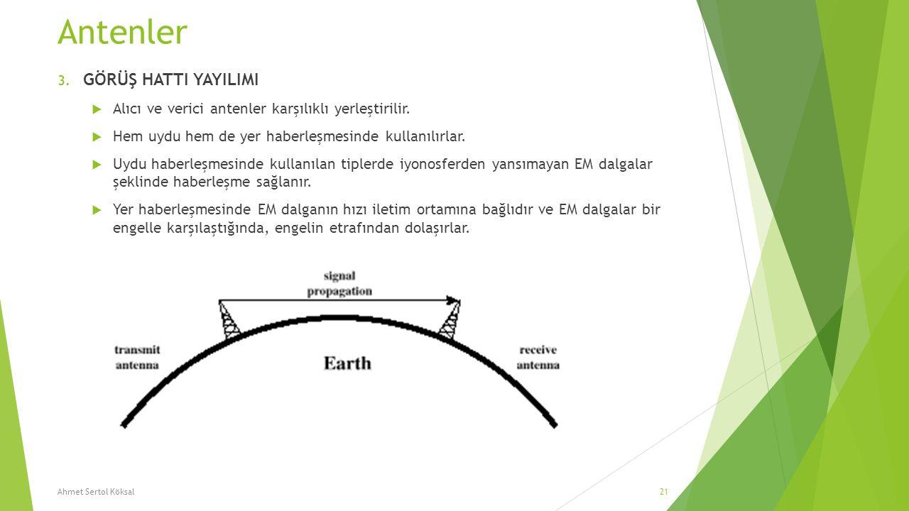 Antenler 3. GÖRÜŞ HATTI YAYILIMI  Alıcı ve verici antenler karşılıklı yerleştirilir.  Hem uydu hem de yer haberleşmesinde kullanılırlar.  Uydu habe