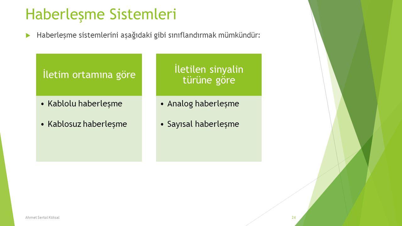 Haberleşme Sistemleri  Haberleşme sistemlerini aşağıdaki gibi sınıflandırmak mümkündür: Ahmet Sertol Köksal24 İletim ortamına göre Kablolu haberleşme