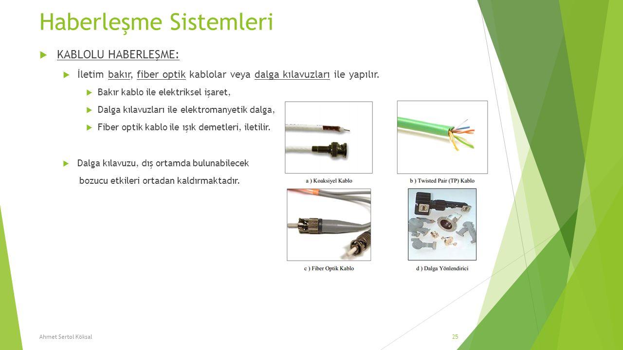 Haberleşme Sistemleri  KABLOLU HABERLEŞME:  İletim bakır, fiber optik kablolar veya dalga kılavuzları ile yapılır.  Bakır kablo ile elektriksel işa