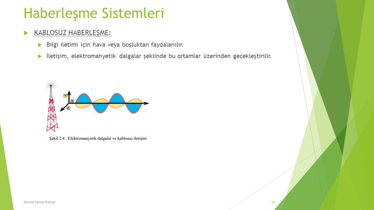 Haberleşme Sistemleri  KABLOSUZ HABERLEŞME:  Bilgi iletimi için hava veya boşluktan faydalanılır.  İletişim, elektromanyetik dalgalar şeklinde bu o