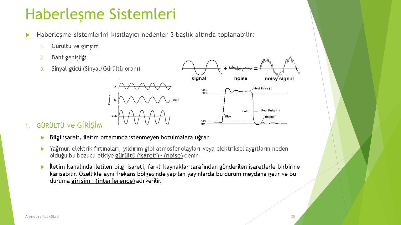 Haberleşme Sistemleri  Haberleşme sistemlerini kısıtlayıcı nedenler 3 başlık altında toplanabilir: 1. Gürültü ve girişim 2. Bant genişliği 3. Sinyal