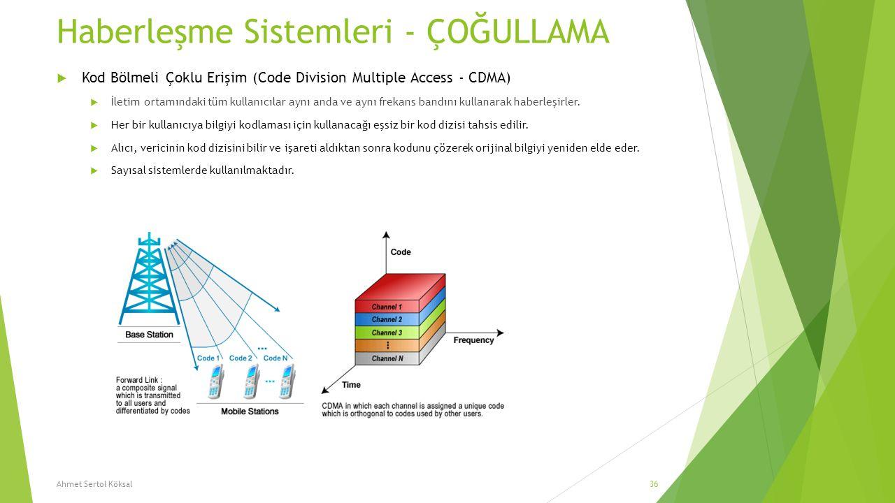 Haberleşme Sistemleri - ÇOĞULLAMA  Kod Bölmeli Çoklu Erişim (Code Division Multiple Access - CDMA)  İletim ortamındaki tüm kullanıcılar aynı anda ve