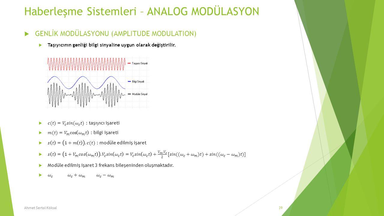 Haberleşme Sistemleri – ANALOG MODÜLASYON Ahmet Sertol Köksal39