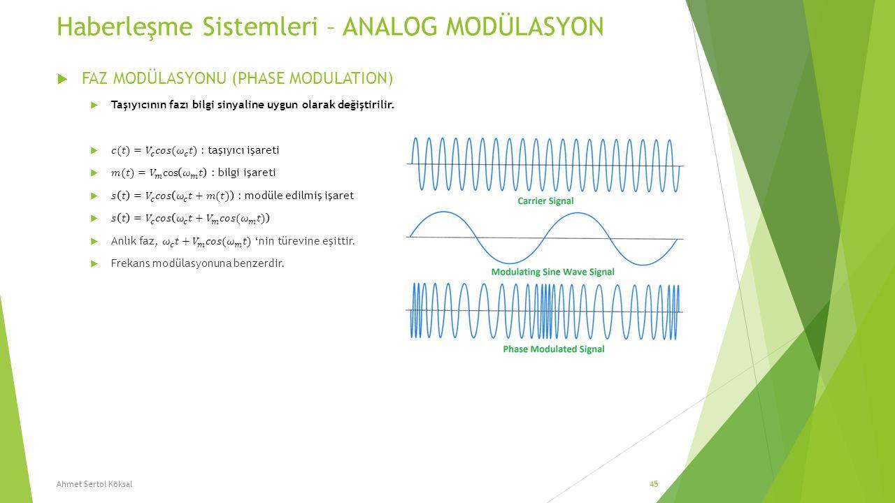 Haberleşme Sistemleri – ANALOG MODÜLASYON Ahmet Sertol Köksal45