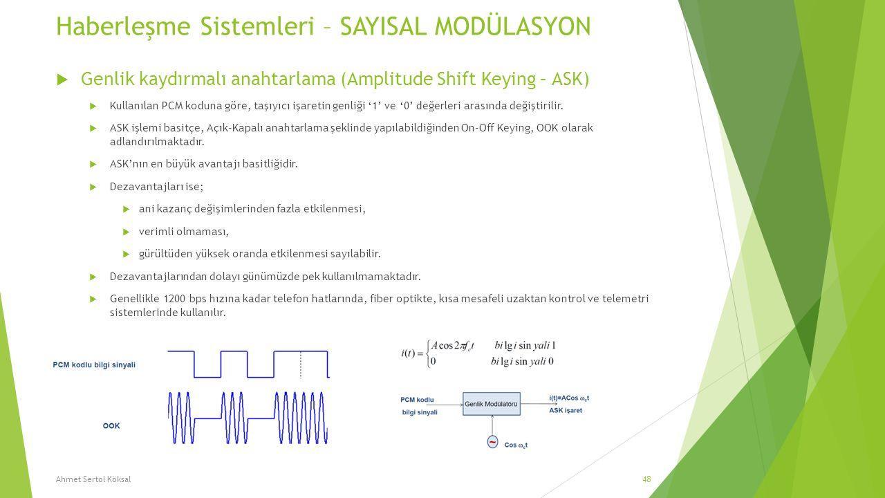 Haberleşme Sistemleri – SAYISAL MODÜLASYON  Genlik kaydırmalı anahtarlama (Amplitude Shift Keying – ASK)  Kullanılan PCM koduna göre, taşıyıcı işare