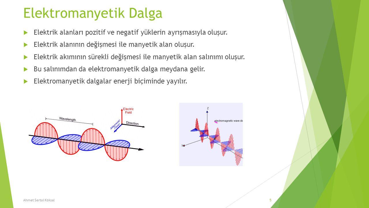 Elektromanyetik Dalga  Elektrik alanları pozitif ve negatif yüklerin ayrışmasıyla oluşur.  Elektrik alanının değişmesi ile manyetik alan oluşur.  E