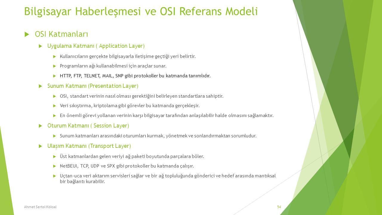 Bilgisayar Haberleşmesi ve OSI Referans Modeli  OSI Katmanları  Uygulama Katmanı ( Application Layer)  Kullanıcıların gerçekte bilgisayarla iletişi