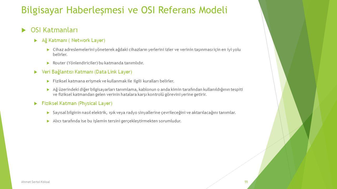 Bilgisayar Haberleşmesi ve OSI Referans Modeli  OSI Katmanları  Ağ Katmanı ( Network Layer)  Cihaz adreslemelerini yöneterek ağdaki cihazların yerl